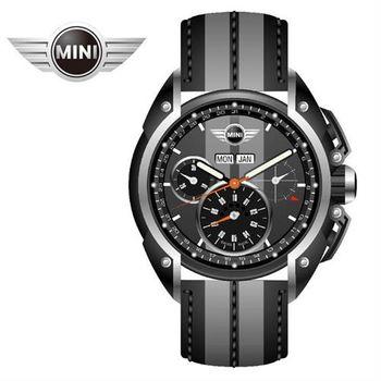 MINI手錶/腕錶 雙灰錶面三眼外圈數字石英計時灰系列雙色皮帶手錶 45mm MINI-05