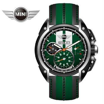 MINI手錶/腕錶 綠面白條三眼外圈數字石英計時黑綠雙色皮帶手錶 45mm MINI-03