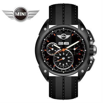 MINI手錶/腕錶 午夜黑面暗灰中條三眼外圈數字日期石英計時黑深灰雙色皮帶手錶 45mm MINI-06