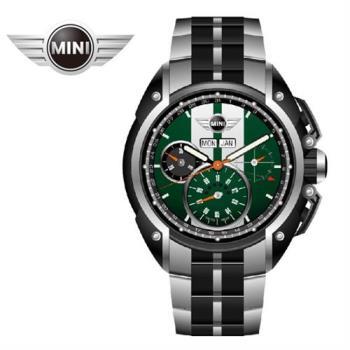 萬寶鐘錶MINI手錶/腕錶 MINI Swiss Watches 綠面白條石英計時鍊帶手錶 45mm MINI-03S