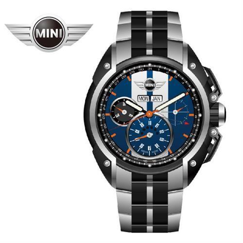 MINI Swiss Watches 藍面白條石英計時鍊帶手錶45mm MINI-02S