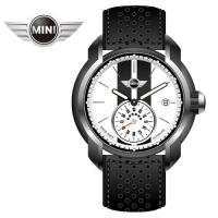 MINI手錶/腕錶 典雅白黑皮帶機械手錶 45mm MINI-104E