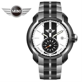 MINI手錶/腕錶 典雅白黑鍊帶機械手錶 45mm MINI-100E