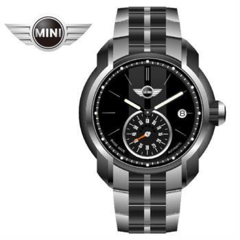 MINI手錶/腕錶 莊嚴黑灰鍊帶機械手錶 45mm MINI-101E
