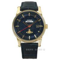 Vivienne Westwood / VV065BLBL / 浩瀚星球日期真皮手錶 深藍x金框 42mm