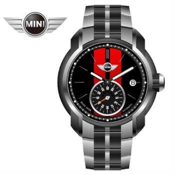 MINI手錶/腕錶 大方黑紅鍊帶手錶 45mm MINI-102E