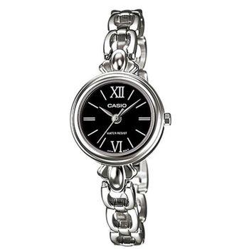 【CASIO】 獨領風采時尚指針造型鍊帶錶-羅馬黑面 (LTP-1384D-1B)