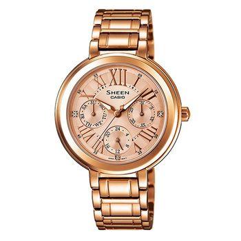 【CASIO】SHEEN 浪漫玫瑰金風采不鏽鋼腕錶 (SHE-3034PG-9A)
