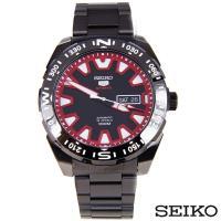 SEIKO精工  精工5夜光自動紅色指針槍黑色不鏽鋼男士錶 SRP749K