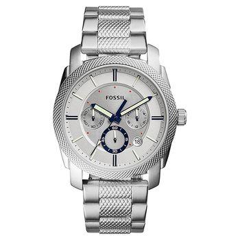 FOSSIL 領航者三眼計時腕錶 銀 45mm FS5324