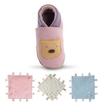 【英國Daisy Roots】百年手做全皮革幼兒鞋學步鞋童鞋/ 安撫巾彌月禮盒(泰迪熊/粉紅)