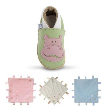 【英國Daisy Roots】百年手做全皮革幼兒鞋學步鞋童鞋/ 安撫巾彌月禮盒(小河馬/淺綠)