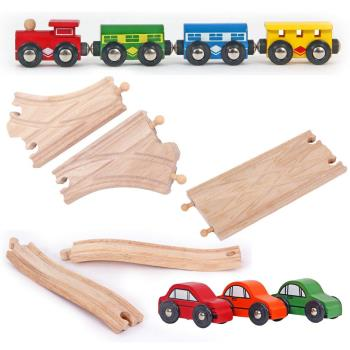 台灣【Mentari木頭玩具】串接列車+軌道配件超值優惠套組 木頭火車軌道配件