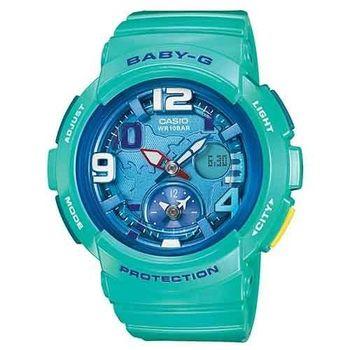 【CASIO】Baby-G 雙時區旅行度假風時尚錶-綠洲 (BGA-190-3B)