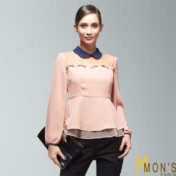 MONS法式甜美小圓領造型上衣