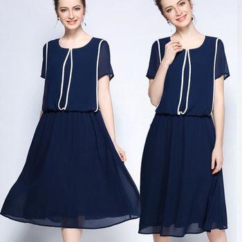 麗質達人中大碼 - 藍色長版洋裝 L-5XL