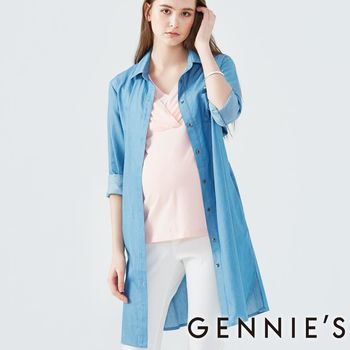 Gennies專櫃-長版綁帶牛仔襯衫-(T1D09-淺藍)