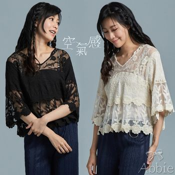【A1 Darin】韓版新款網紗拼接花朵刺繡上衣
