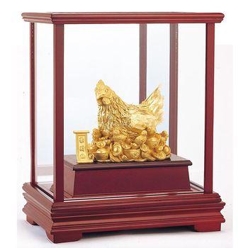 【開運陶源】 純金 立體金箔櫥窗禮品~金雞母 聚財雞 居家富貴/金雞聚寶