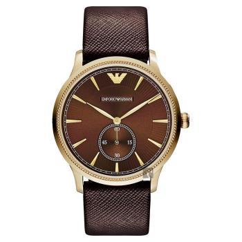 ARMANI Classic 爵士時尚小秒針腕錶 咖啡x金框 38mm AR1799