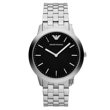 ARMANI Retro 時尚超薄石英腕錶 黑x銀 41.5mm AR1744