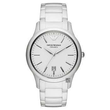 ARMANI 完美時尚陶瓷經典腕錶-白/43mm AR1476