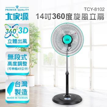 大家源 14吋360度旋風立扇/電風扇 TCY-8102