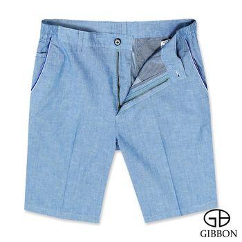 GIBBON 彈性天絲棉透氣休閒短褲‧藍色M-3XL
