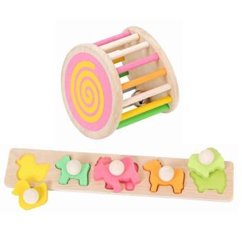 台灣捷暘Mentari Toys 木頭玩具 安全無毒環保 木製玩具-繽紛大搖鈴+牧場立體拼圖
