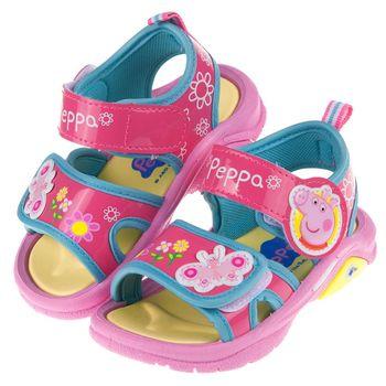 粉紅豬小妹佩佩豬桃色蝴蝶花園可調節式兒童涼鞋(14~18公分)