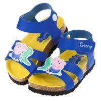 粉紅豬小妹喬治豬藍色歐風兒童氣墊涼鞋 14~18公分