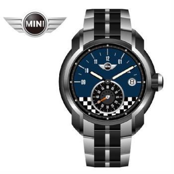 萬寶鐘錶MINI手錶/腕錶 MINI Swiss Watches 靛藍方賽車格紋石英計時雙色鍊帶錶 45mm MINI-51ES