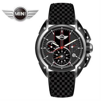 萬寶鐘錶MINI手錶/腕錶 MINI Swiss Watches低燒黑灰紅邊三眼黑色碳纖維皮帶手錶 45mm MINI-23