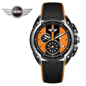 MINI手錶/腕錶 熔岩橘面黑條四點日期窗黑底橘邊皮帶石英計時手錶 45mm MINI-28