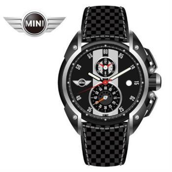 MINI手錶/腕錶 新銳黑白二眼分數數字三點日期窗石英計時黑色碳纖維皮帶手錶 45mm MINI-12