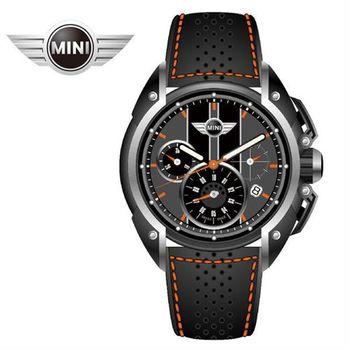MINI手錶/腕錶 暗夜橘火三眼四點日期窗石英計時黑色橘線皮帶手錶 45mm MINI-25