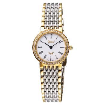 Ogival 愛其華 薄型羅馬晶鑽女錶 白x雙色版 25mm 385-021DL半金