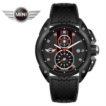 MINI手錶/腕錶 暗夜輕紅二眼三點日期窗石英計時黑色皮帶手錶 45mm MINI-16