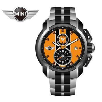 MINI手錶/腕錶 極速晶黃二眼數字時間三點日期窗石英計時銀黑雙色鍊帶手錶 45mm MINI-38