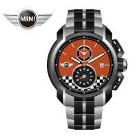MINI手錶/腕錶 勁飆橘下方賽車格紋二眼三點日期窗銀黑雙色鍊帶手錶 45mm MINI-36