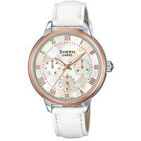 【CASIO】SHEEN 彩虹珍珠彩貝三眼腕表-玫瑰金框X白錶帶 (SHE-3057PGL-7A)