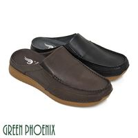 GREEN PHOENIX V型鬆緊帶真皮平底前包後空男拖鞋-(咖啡色、黑色)