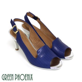 【GREEN PHOENIX】BIS-VITAL 直條凸紋金屬扣繞踝義大利羊皮魚口高跟涼鞋-藍色