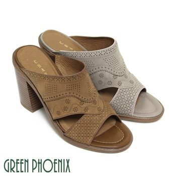 GREEN PHOENIX 雕花鏤空臘感牛皮木質粗高跟拖鞋-棕色/灰色