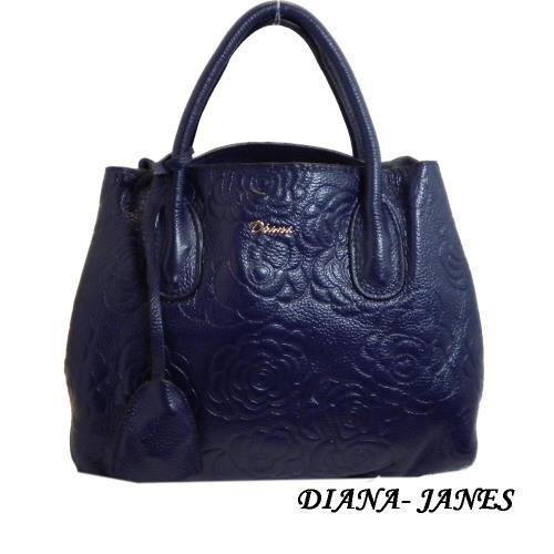 Diana Janes 牛皮玫瑰花兩用女包-藍