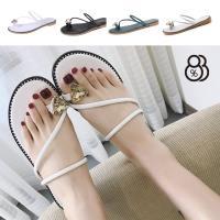 88% 歐美春夏套趾水鑽舒適軟底平底涼拖休閒度假沙灘鞋拖鞋