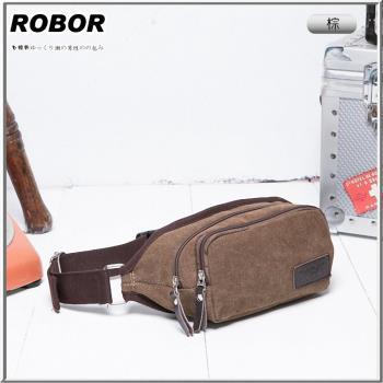 韓系型男 ROBOR韓風潮流雙拉鍊帆布包腰包(棕色)