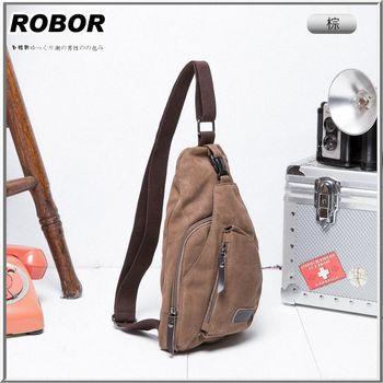 韓系型男 ROBOR奔馳時尚帆布包單肩包(棕色)