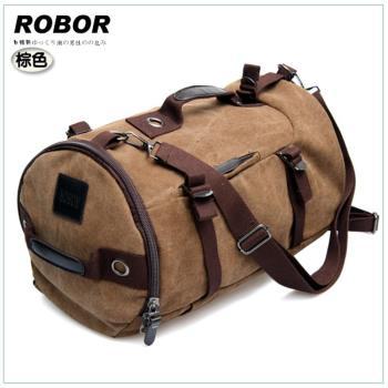 韓系型男 ROBOR衝鋒時尚多功能帆布筆電後背/旅行袋(棕色)