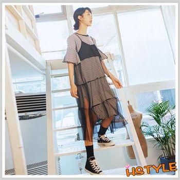連身裙 兩件式條紋網紗五分袖洋裝OR6138-創翊韓都